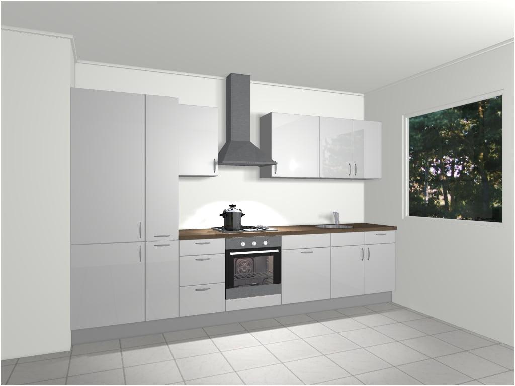 Design rechte keuken 345 cm rome de keukenbaas for 3d planner keuken