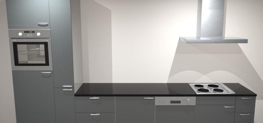 Design rechte keuken 300 cm met apothekerskast brussel for Keuken 3d planner