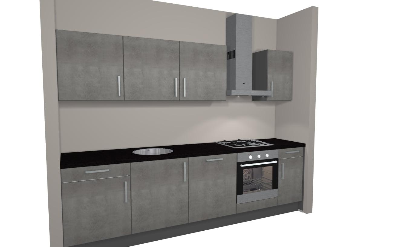 Rechte keuken 282 cm incl apparatuur de keukenbaas for 3d planner keuken