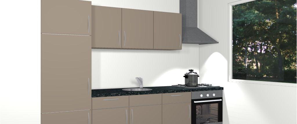 Design rechte keuken 300 cm monaco de keukenbaas for 3d planner keuken
