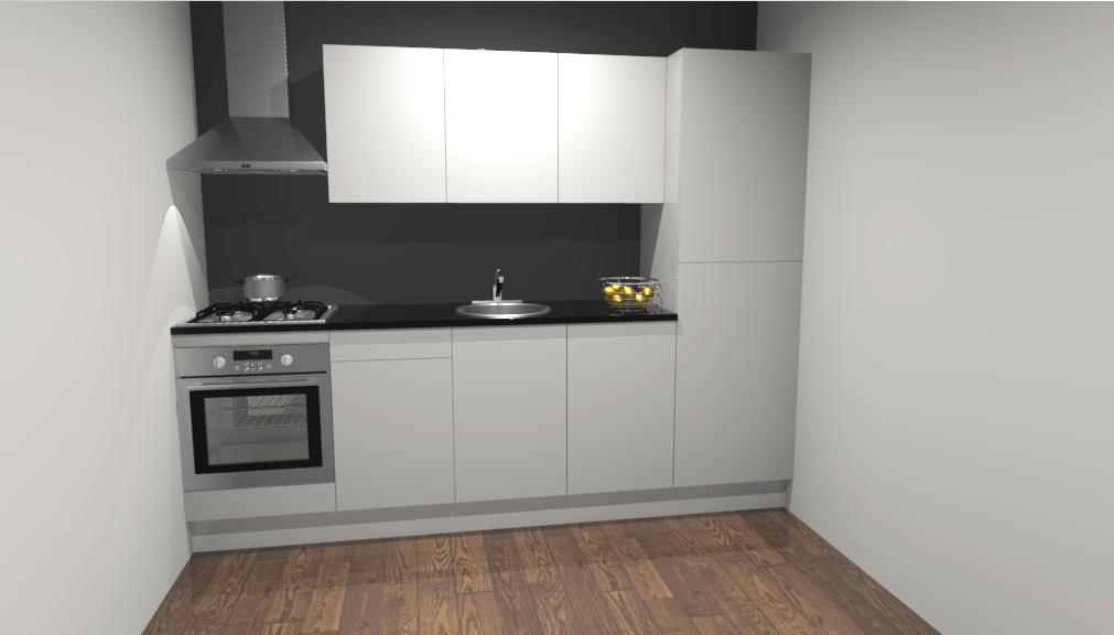 Rechte keuken 270cm oranjestad de keukenbaas for 3d planner keuken