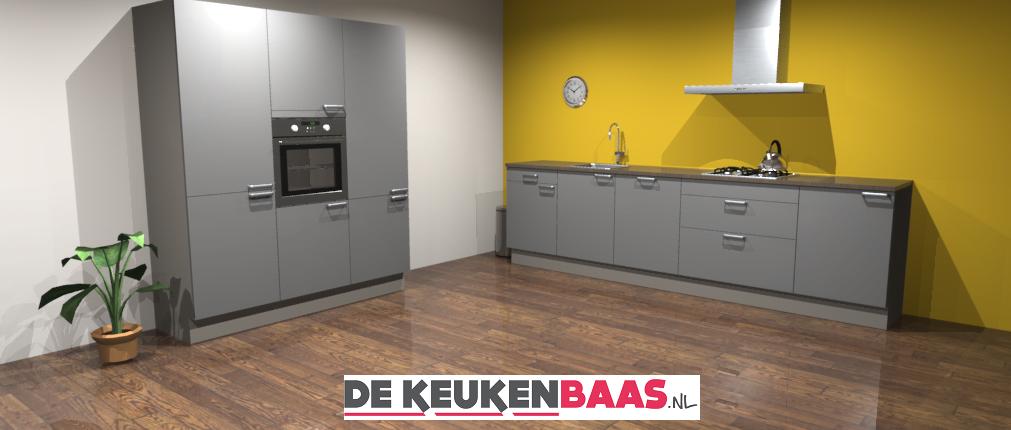 Rechte keuken met hoge kastenwand de keukenbaas for Keuken offerte vergelijken
